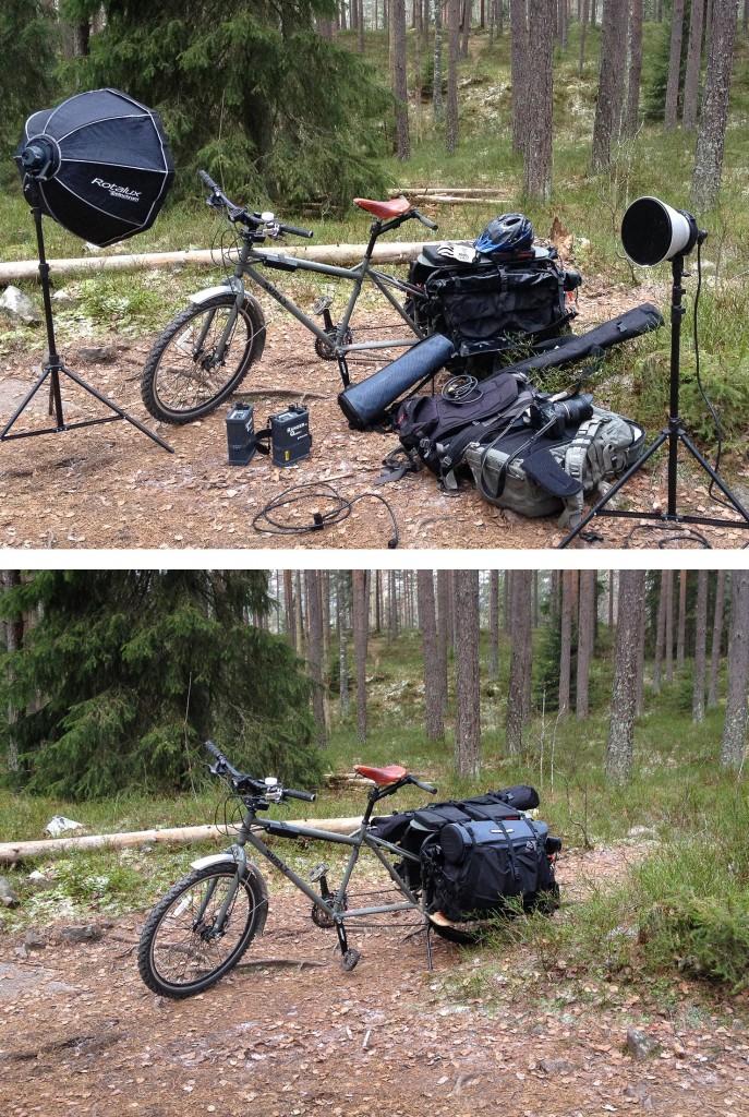 TUNGTRANSPORT: En fotojobb i Nordmarka i november krevde en del medbrakt utstyr, som var for tungt til å bæres inn til fots. Det var selvsagt umulig å kjøre hit med bil. Big Dummy tok alt med seg over holkeføre og smale stier.