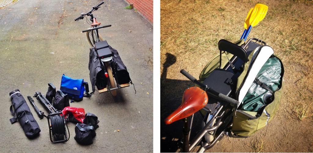 PAKKESLER: Til venstre ymse fotoutstyr fraktet på Big Dummy, til høyre en komplett gummibåt for to voksne og et barn – fraktet hjem fra stranda på Trek Transport. Sykler som dette får vanlige sykler til å virke litt puslete.