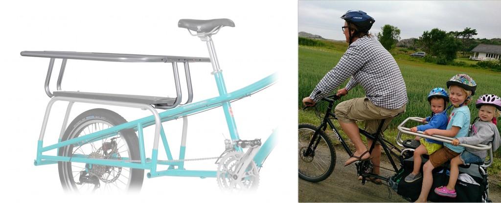 BARNEGRIND: Hooptie er en av de kuleste tilbehørene Xtracycle tilbyr. Til venstre ser du den påmontert en Xtracycle Edgerunner –til høyre er den i bruk på Dummyen til Magnus Thorvik fra Oslo, her på sommertur på Hvasser. Foto: Lars Stockinger