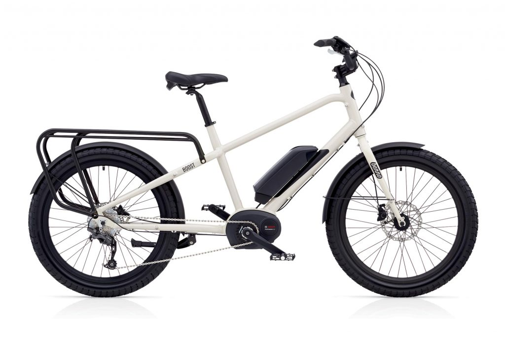 UTEN FRONTBÆRER: Du kan velge å sykle med én, to eller ingen lastebærere på din Benno Boost E. Denne modellen fås i gul, svart og den lysegrå-hvite du ser her.